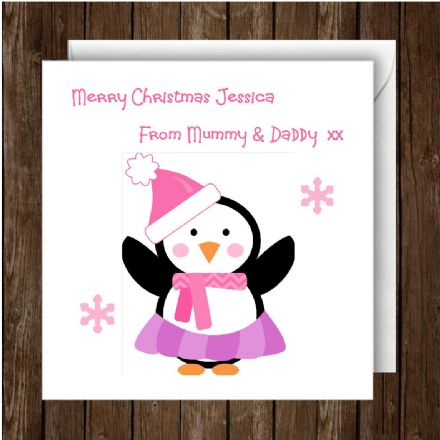Personalised Christmas Card Pink Penguin Single or Pack of 10